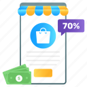 shopping app, mobile app, online buying, ecommerce, mecommerce, mobile banking icon
