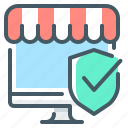 check, ecommerce, mark, online, online store, shield, store icon