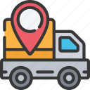 delivery, ecommerce, location, pin, truck icon