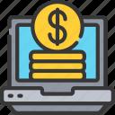 computer, dollar, ecommerce, laptop, money icon