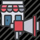 ecommerce, megaphone, promote, shop, store icon