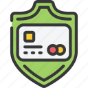 card, credit, ecommerce, payment, secure, shield icon
