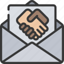 business, ecommerce, email, hand, shake, thankyou icon