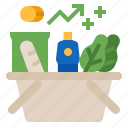 expensive, increase, inflation, price, rising prices, shop, shopping icon