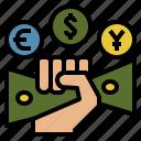 economics, fiat, hand, money