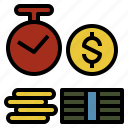 bank, deposit, economics, money, time icon