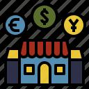 economics, finance, market, money, store icon