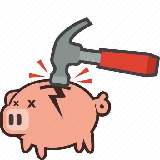 bank, bankruptcy, broken, currency, hammer, piggy, piggybank icon