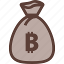 bag, bank, bitcoin, business, money icon