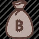 bag, bank, bitcoin, business, money icon