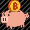 bank, bitcoin, money, piggy, savings, piggybank