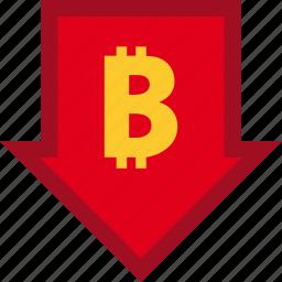 bitcoin, currency, descendant, descending, finance, financial, money icon
