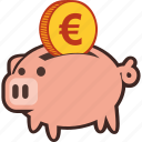 bank, euro, money, piggy, piggybank, savings icon