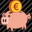 bank, euro, money, piggy, savings, piggybank