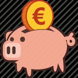bank, euro, money, piggy, piggybank, savings icon