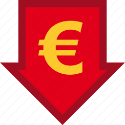 currency, descendant, descending, euro, finance, financial, money icon