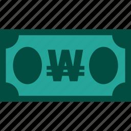 bill, currency, finance, money, won icon