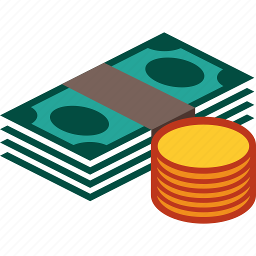 bills, coins, currency, money, stack icon