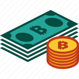 bills, bitcoin, coins, currency, money, stack icon