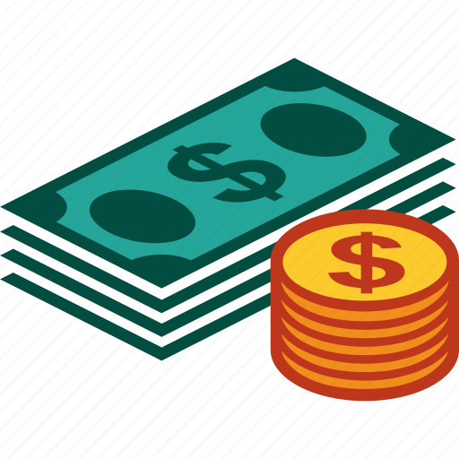 bills, coins, currency, dollar, money, stack icon