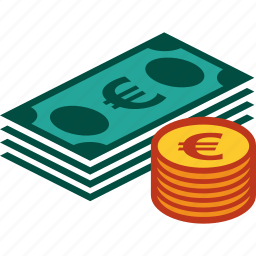 bills, coins, currency, euro, money, stack icon