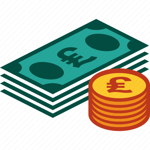 bills, coins, currency, money, pound, stack icon