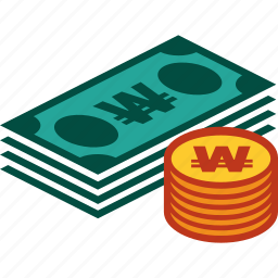 bills, coins, currency, money, stack, won icon