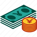 bills, coins, currency, money, stack, yen icon