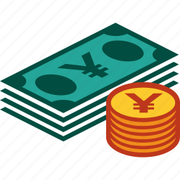 bills, coins, currency, money, stack, yen icon
