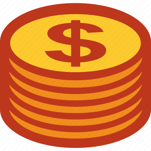 coins, currency, dollar, money, stack icon