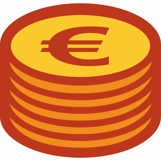 coins, currency, euro, money, stack icon