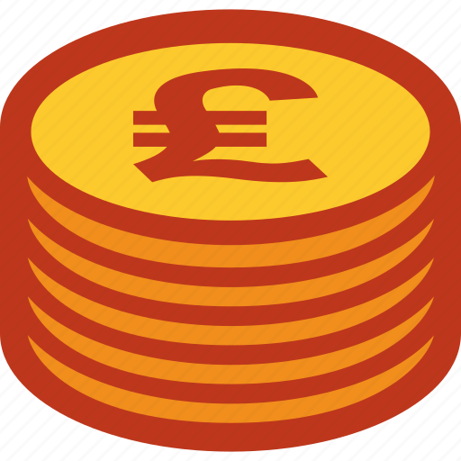 coins, currency, money, pound, stack icon