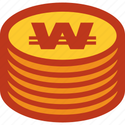 coins, currency, money, stack, won icon