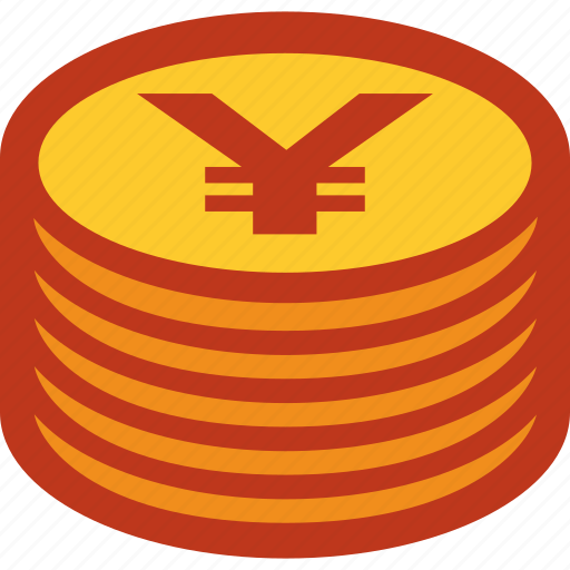 coins, currency, money, stack, yen icon