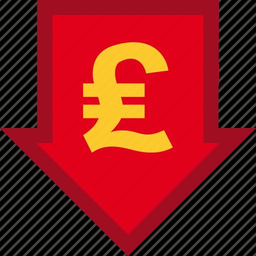 currency, descendant, descending, finance, financial, money, pound icon