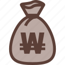 bag, bank, business, money, won icon