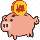bank, money, piggy, savings, won icon