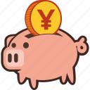 bank, money, piggy, piggybank, savings, yen icon