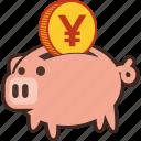 bank, money, piggy, savings, yen, piggybank