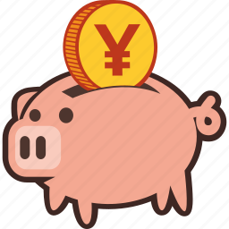 bank, money, piggy, piggybank, savings, yen icon
