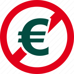 cash, currency, euro, financial, forbidden, money, prohibited icon