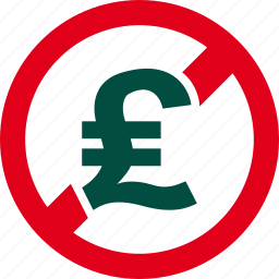 cash, currency, financial, forbidden, money, pound, prohibited icon