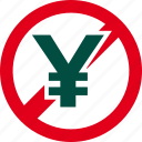 cash, currency, financial, forbidden, money, prohibited, yen icon