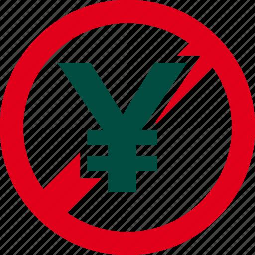 cash, currency, financial, forbidden, money, prohibited, yen icon