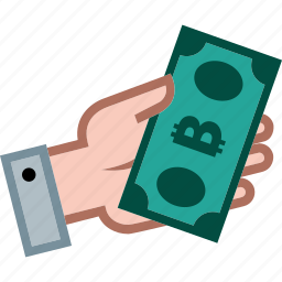bitcoin, currency, hand, money, payment, shopping icon