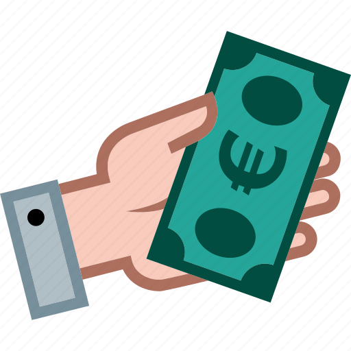currency, euro, hand, money, payment, shopping icon