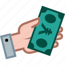 currency, hand, money, payment, shopping, yen icon