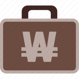 business, currency, korean, money, suitcase, won icon