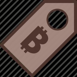 bitcoin, discount, label, money, sale icon