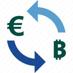 bitcoin, currency, euro, exchange, money, rate, to icon